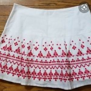 Vineyard Vines White Cotton Skirt with Red Embroid